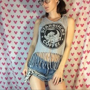 Hot Topic Tops - Starbucks Coffee Little Mermaid Fringe Graphic Top